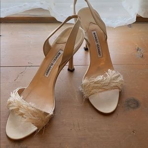 Manolo Blahnik Leather heels, Feathered toe strap